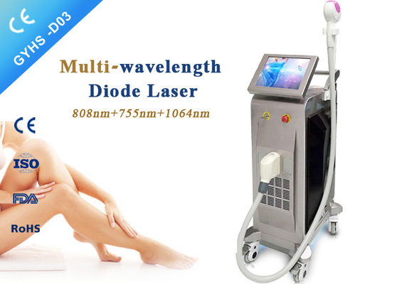 China Three Wavelength Laser Body Hair Removal Machine 10-120j / Cm2 Fluence 1200W supplier